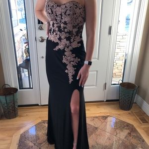 Strapless black prom dress with slit